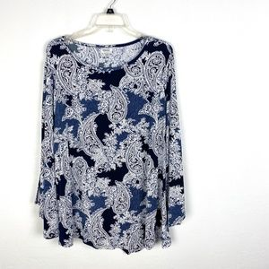 Avenue long bell sleeve blouse tunic top stretch